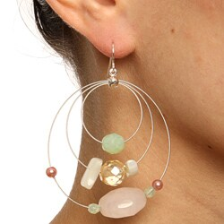 Alexa Starr Silvertone Rose Quartz Hoop Earrings