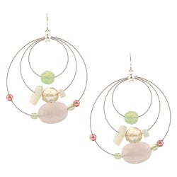 Alexa Starr Silvertone Rose Quartz Hoop Earrings