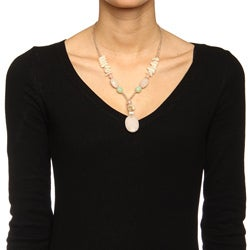 Alexa Starr Silvertone Rose Quartz, Shell and Glass Necklace