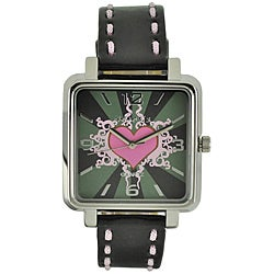 Nemesis Women's Elegant Pink Heart Leather Band Watch