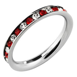 Stainless Steel Red and Clear Stackable Cubic Zirconia Eternity Band