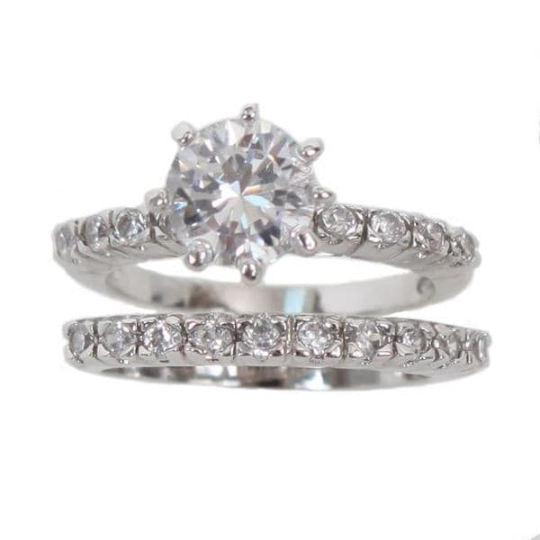 NEXTE Jewelry Silvertone Round-cut Cubic Zirconia Bridal-style Ring Set