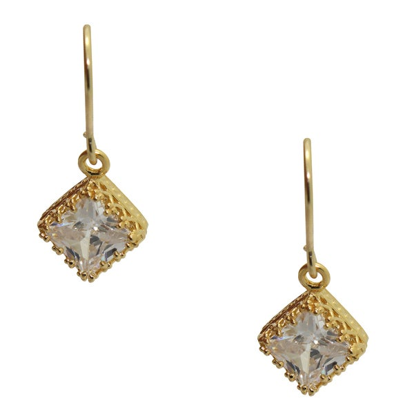 Gioelli 14k Yellow Gold over Sterling Silver Square-cut Cubic Zirconia Earrings