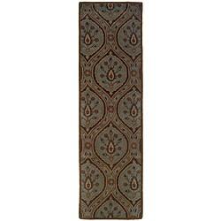 Hand-tufted Green Wool Area Rug (2'3 x 8')
