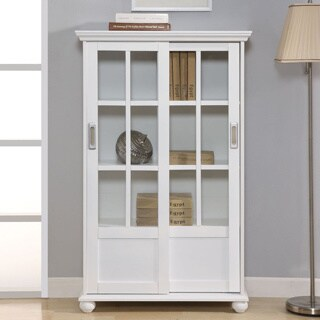 Altra White Sliding Glass Doors Bookcase