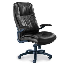 Mayline Black Leather High-Back Swivel/Tilt Executive Office Chair