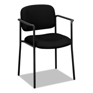 basyx by HON VL616 Series Black Fabric Stacking Guest Chair with Arms