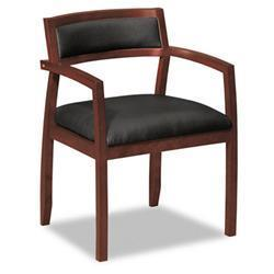 HON basyx Black Leather and Wood Guest Chair with Mahogany Finish
