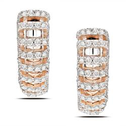 Miadora 18k Pink Gold 5/8ct TDW Diamond Earrings (G-H, SI1-SI2)