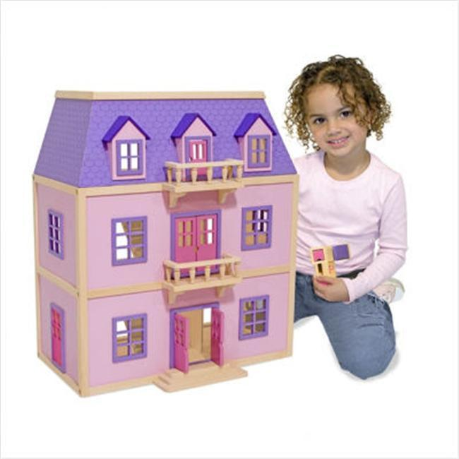 Melissa & Doug Multi-level Colorful Hand Painted Wooden Dollhouse