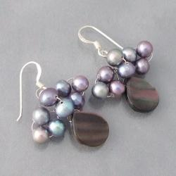 Silver Mother of Pearl/ Black Pearl Dangle Earrings (4-5 mm) (Thailand)