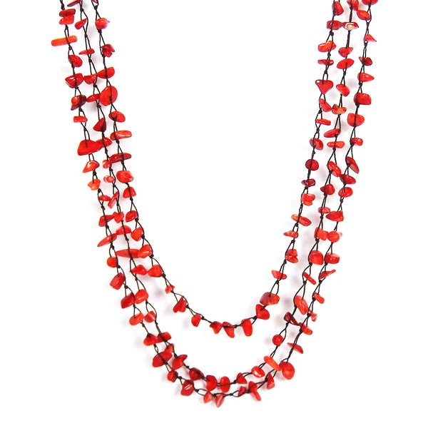 Cotton Crochet Triple Strand Red Coral Bubble Necklace (Thailand)