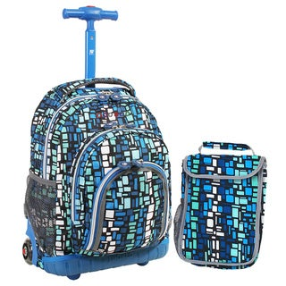 J World Blue Squares 16-inch Kids Rolling Backpack with Lunch Bag