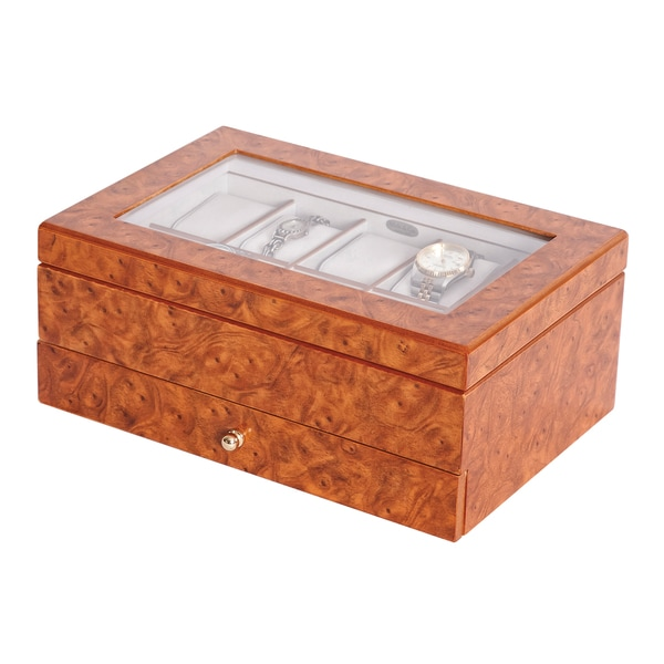 Mele Watch Box with Viewing Window in Burlwood Oak