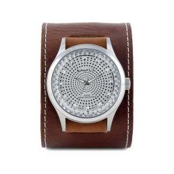 Nemesis Men's Signature Brown Pointium Diamond Cut Leather Band Watch