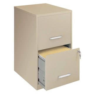 "Space Solutions 18"" Deep 2-drawer Metal File Cabinet, Putty"