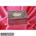 Silverplated Embellished Roses Engraved Initial Jewelry Box