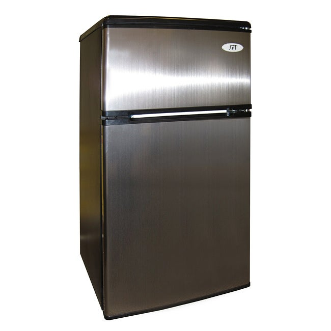 SPT Stainless Steel 3.2 Cubic Feet Double-door Compact Refrigerator