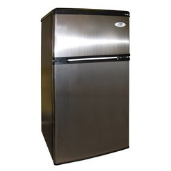 Stainless Steel 3.2 Cubic Feet Double-door Compact Refrigerator