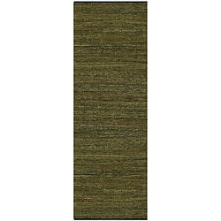 Hand-woven Matador Green Leather Rug (2'6 x 12)