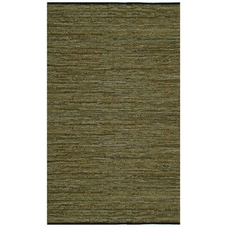 Hand-woven Matador Green Leather Rug (4' x 6')