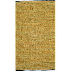 Hand-woven Matador Gold Leather Rug (5' x 8')