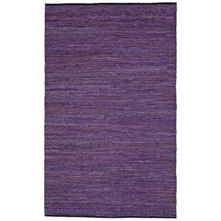 Hand-woven Matador Purple Leather Rug (5' x 8')