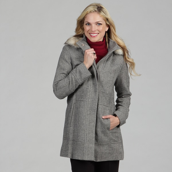 Esprit Women's Faux-fur Herringbone Coat