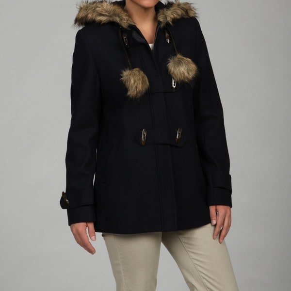 Esprit Women's Navy Faux-fur Trim Jacket