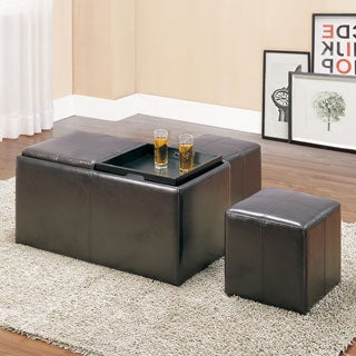 TRIBECCA HOME Landon Dark Brown Bi-cast Vinyl Storage Bench