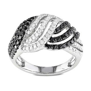 Miadora 14k Gold 1ct TDW Black and White Woven Diamond Ring (G-H, SI1-SI2)