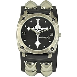 Nemesis Men's Punk Rock Cross Skull Leather Band Watch