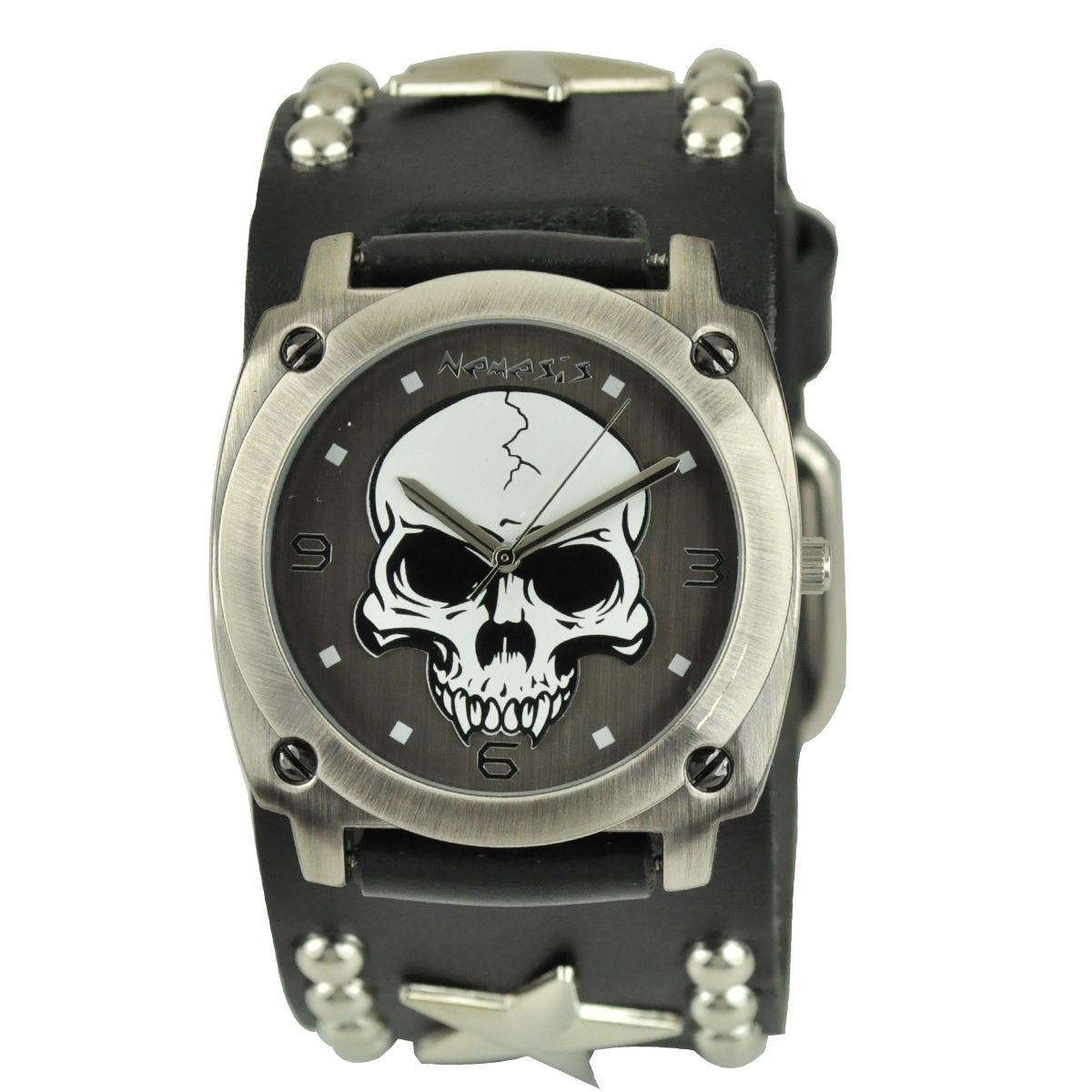 Nemesis Men's Punk Rock Star Skull Leather Band Watch