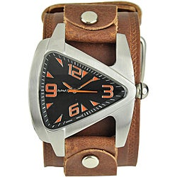 Nemesis Men's Orange Triangle Leather Band Watch