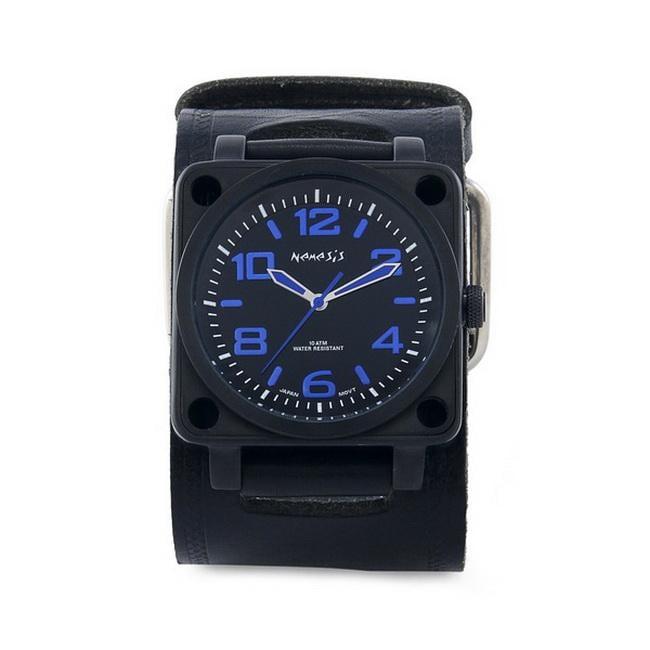 Nemesis Men's Signature Blue SQDrive Leather Cuff Band Watch