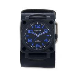 Nemesis Men's Signature Blue SQDrive Leather Cuff Band Watch