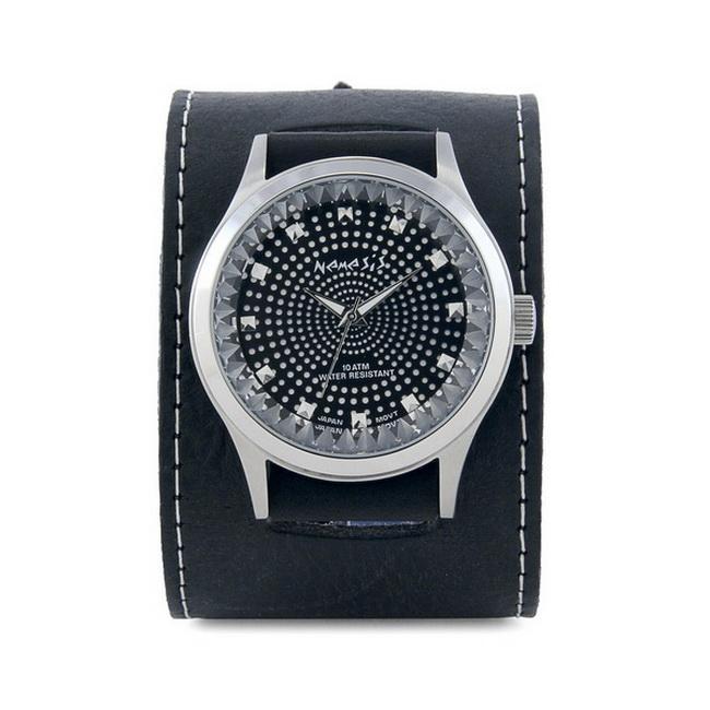 Nemesis Men's Signature Black Pointium Diamond Cut Leather Watch