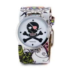 Nemesis Women's Punk Rock Heart Skull Tattoo Leather Watch