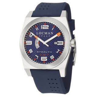 Locman Men's 'Sport' Stainless Steel and Blue Rubber Quartz Date Watch with White and Orange Numerals