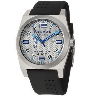 Locman Men's 'Sport' Stainless Steel and Black Rubber Quartz Date Watch with Blue Luminescent Hands