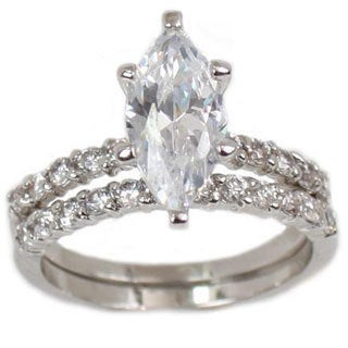 NEXTE Jewelry Silvertone Marquise Cubic Zirconia Bridal-style Ring Set