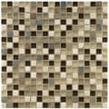 SomerTile 11.75x11.75-in Reflections Mini 9/16-in Nassau Glass/ Stone Mosaic Tile (Pack of 10)