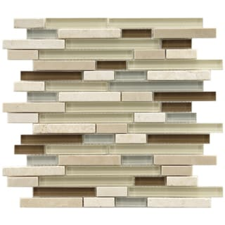 SomerTile 11.75x11.75-in Reflections Piano York Glass/ Stone Mosaic Tile (Pack of 5)