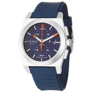 Locman Men's 'Sport' Stainless Steel and Blue Rubber Quartz Date Watch with Round Dial