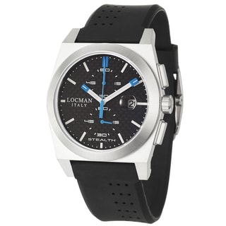 Locman Men's 'Sport' Stainless Steel and Black Rubber Quartz Date Watch with Blue and White Hands