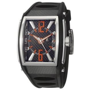 Locman Men's 'Sport' Stainless Steel and Black Rubber Quartz Date Watch with Orange Luminescent Hands