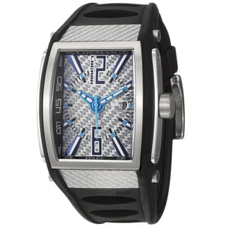 Locman Men's 'Sport' Stainless Steel and Black Rubber Quartz Date Watch with Rectangular Dial and Blue Accents