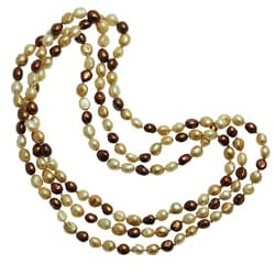 Pearls For You Multi-colored Brown FW Pearl Endless Necklace (8-9 mm)