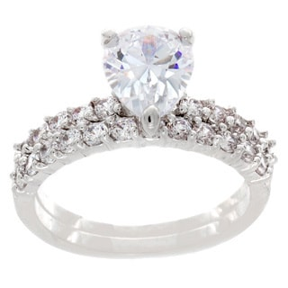 NEXTE Jewelry Silvertone Pear Cubic Zirconia Bridal-style Ring Set
