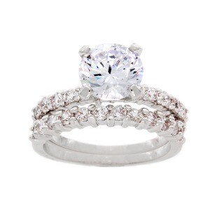 NEXTE Jewelry Silvertone High-polish Round-cut Solitaire Cubic Zirconia Bridal Set